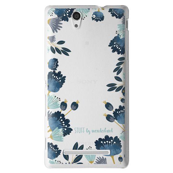 Sony C3 Cases - Blue Flowers Transparent iPhone Case