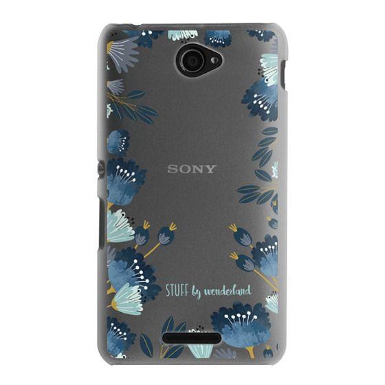 Sony E4 Cases - Blue Flowers Transparent iPhone Case