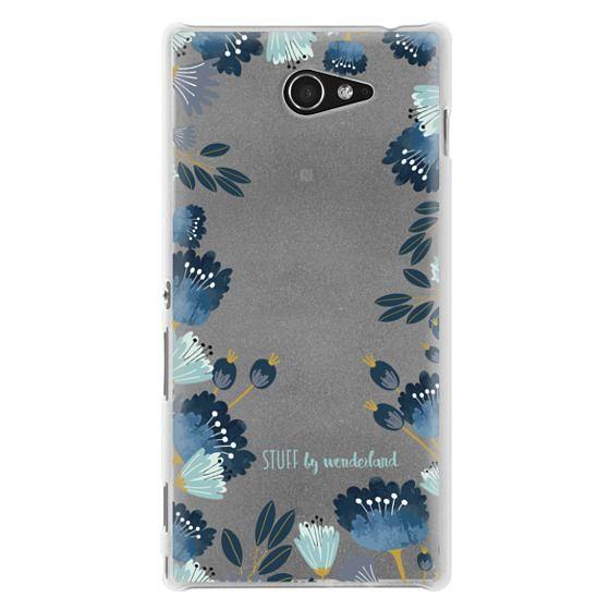 Sony M2 Cases - Blue Flowers Transparent iPhone Case