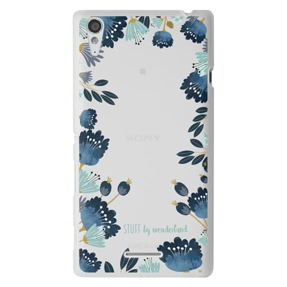 Sony T3 Cases - Blue Flowers Transparent iPhone Case