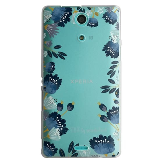 Sony Zr Cases - Blue Flowers Transparent iPhone Case