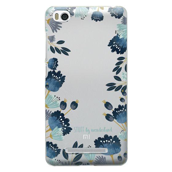 Xiaomi 4i Cases - Blue Flowers Transparent iPhone Case