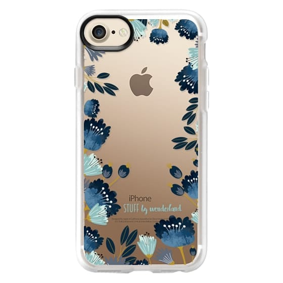 iPhone 7 Cases - Blue Flowers Transparent iPhone Case