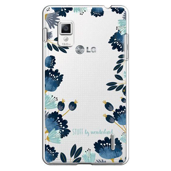Optimus G Cases - Blue Flowers Transparent iPhone Case