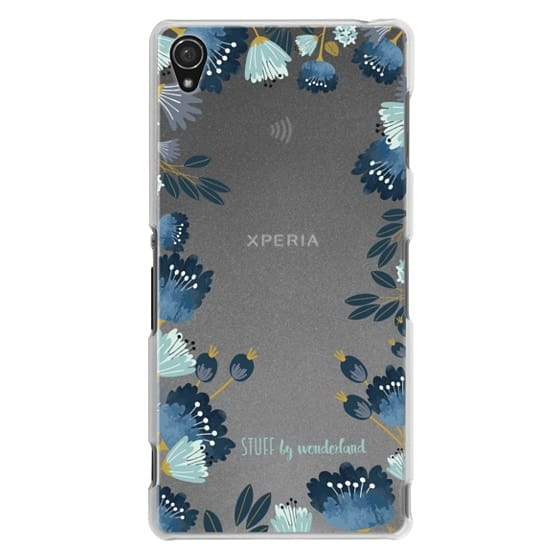 Sony Z3 Cases - Blue Flowers Transparent iPhone Case
