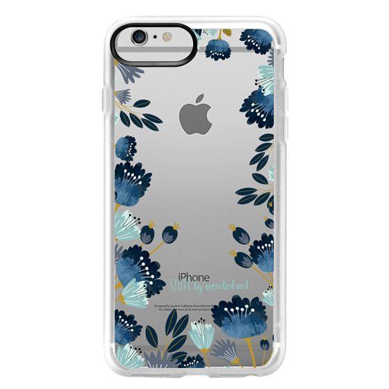iPhone 6 Plus Cases - Blue Flowers Transparent iPhone Case