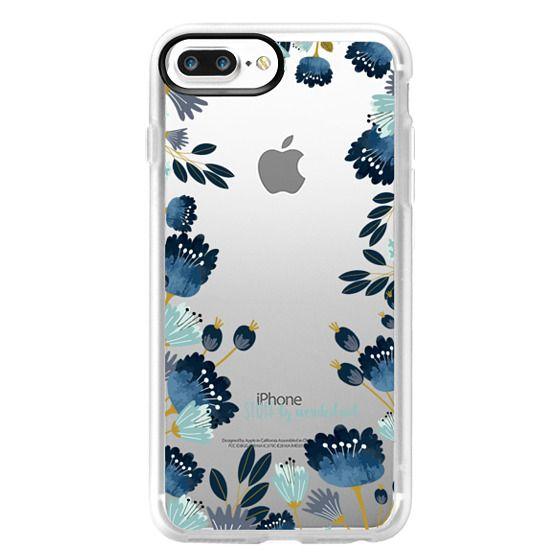 iPhone 7 Plus Cases - Blue Flowers Transparent iPhone Case