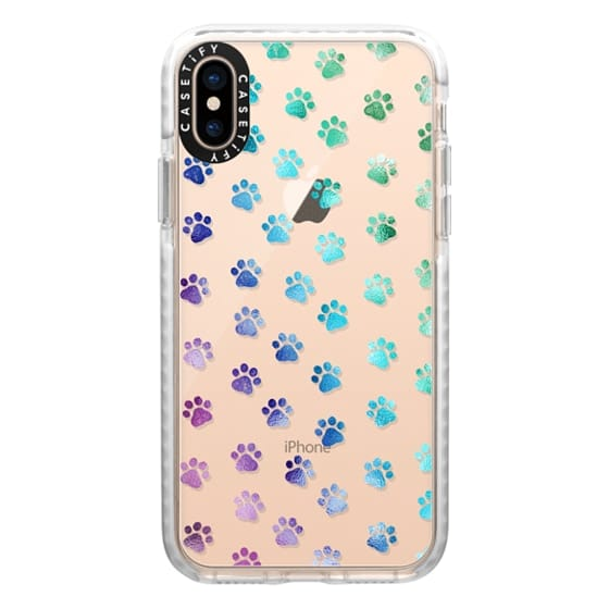 iPhone XS Cases - Ombre Paw Prints