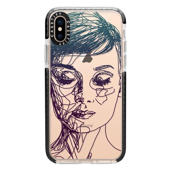 iPhone XS Cases - Audrey Blue Transparent