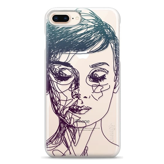 iPhone 8 Plus Cases - Audrey Blue Transparent