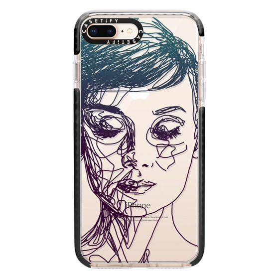 iPhone 8 Plus Cases - Audrey Blue Transparent