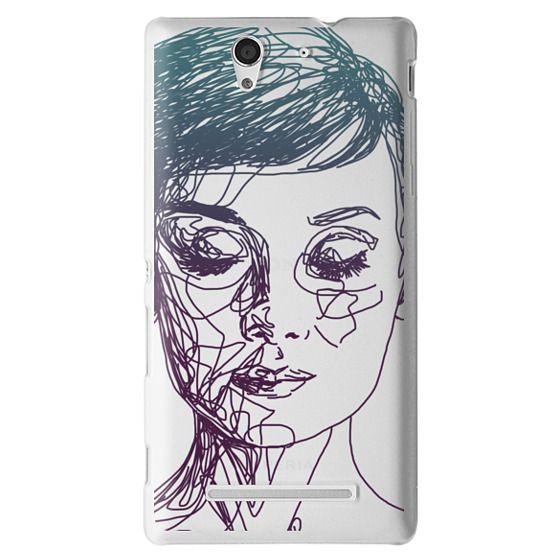 Sony C3 Cases - Audrey Blue Transparent