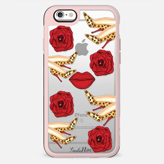 Leopard and Red (transparent case) - New Standard Case