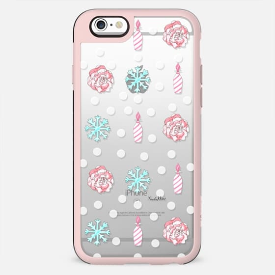 Winter sweetness (candy vase-flower-snowflakes) - transparent case