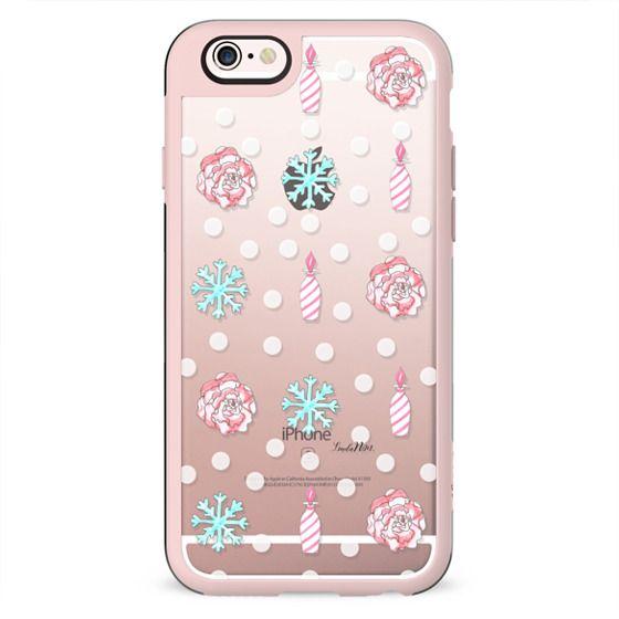 Winter sweetness (candy vase-flower-snowflakes) - transparent case