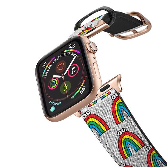 CASETiFY Apple Watch Band (38mm/40mm) Saffiano Leather Watchband V4 - Rainbows by Jon Burgerman