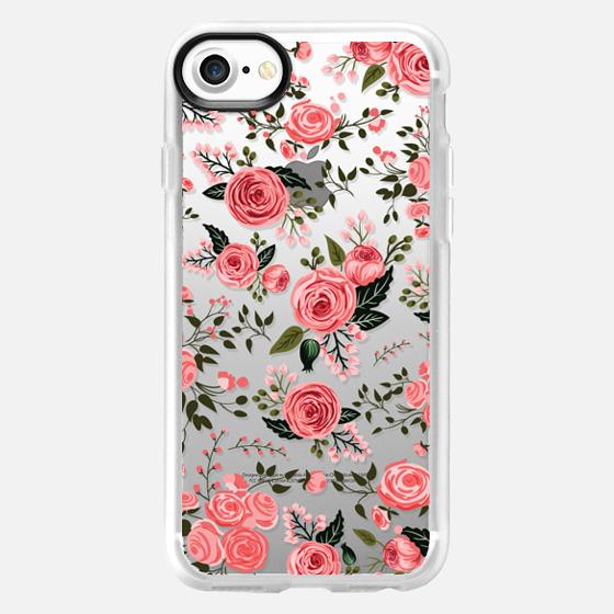 Pink Floral Flowers Feminine Roses Transparent Case 002 -