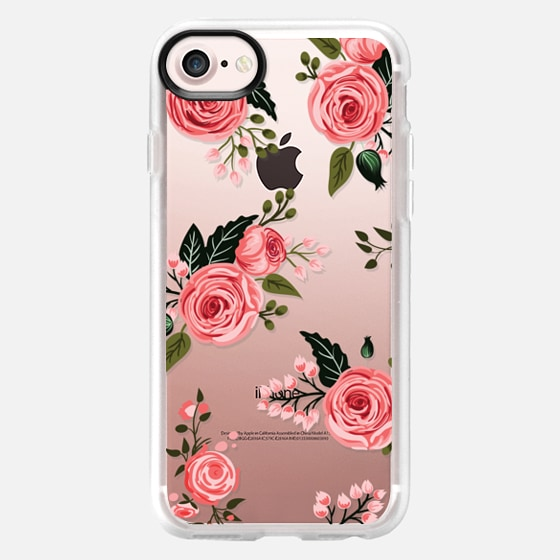 Pink Floral Flowers and Roses Chic Feminine Transparent Case 008 -