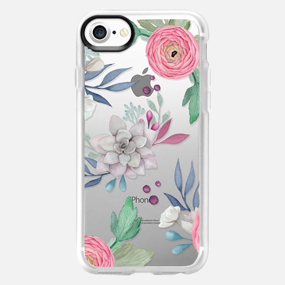 Pink Floral Succulents Feminine Chic Nature Transparent Case 030 - Snap Case
