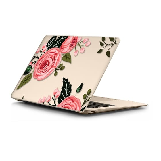 Pink Floral Flowers and Roses Chic Feminine Transparent Mac Computer Case 008