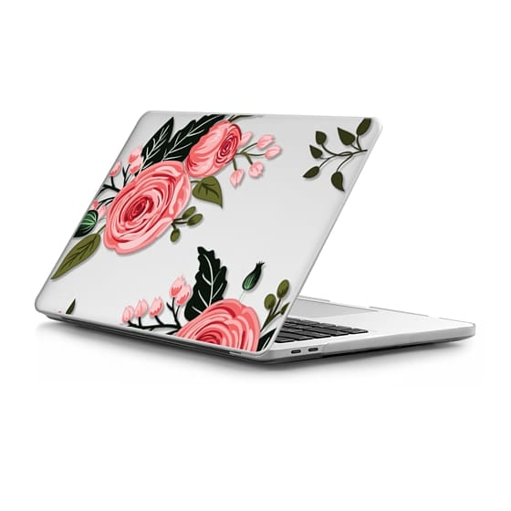 MacBook Pro Touchbar 13 Sleeves - Pink Floral Flowers and Roses Chic Feminine Transparent Mac Computer Case 008