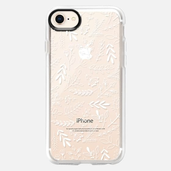 White Floral Flowers and Leaves Transparent Case 005 - Snap Case