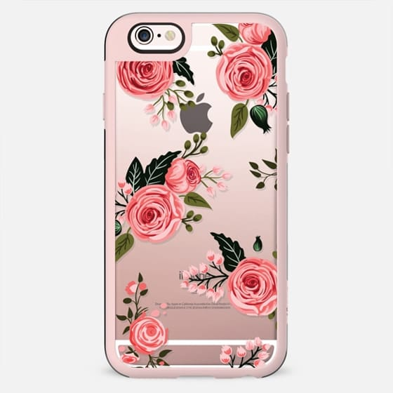 Pink Floral Flowers and Roses Chic Feminine Transparent Case 008 - New Standard Case