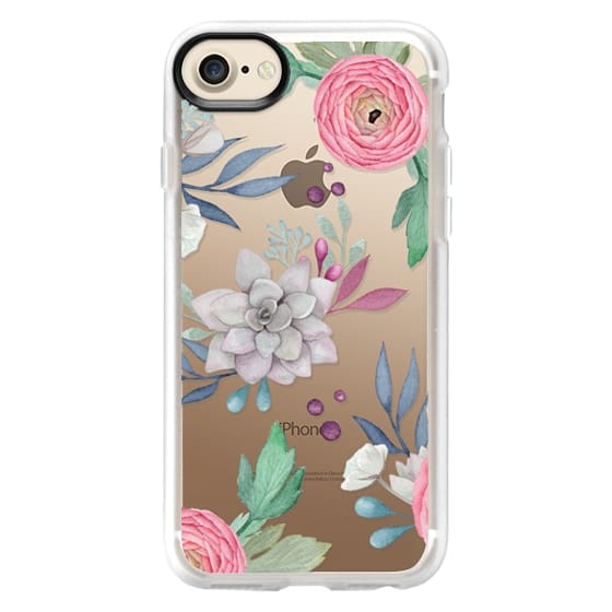 iPhone 7 Cases - Pink Floral Succulents Feminine Chic Nature Transparent Case 030