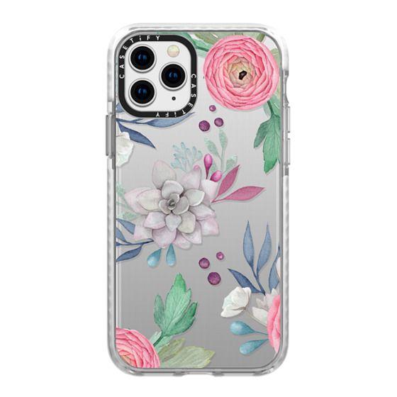 iPhone 11 Pro Cases - Pink Floral Succulents Feminine Chic Nature Transparent Case 030
