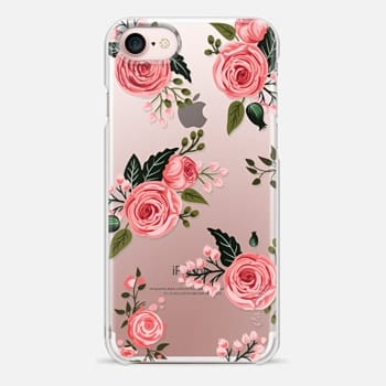 iPhone 7 Case Pink Floral Flowers and Roses Chic Feminine Transparent Case 008