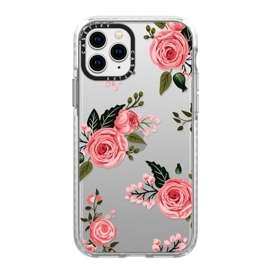 iPhone 11 Pro Cases - Pink Floral Flowers and Roses Chic Feminine Transparent Case 008