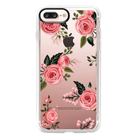 iPhone 7 Plus Cases - Pink Floral Flowers and Roses Chic Feminine Transparent Case 008