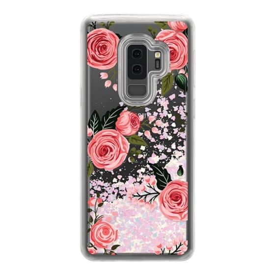Samsung Galaxy S9 Plus Cases - Pink Floral Flowers and Roses Chic Feminine Transparent Case 008