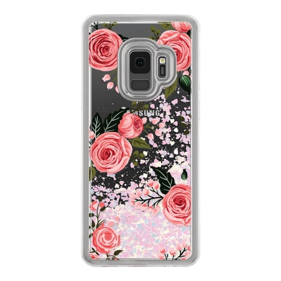 Samsung Galaxy S9 Cases - Pink Floral Flowers and Roses Chic Feminine Transparent Case 008