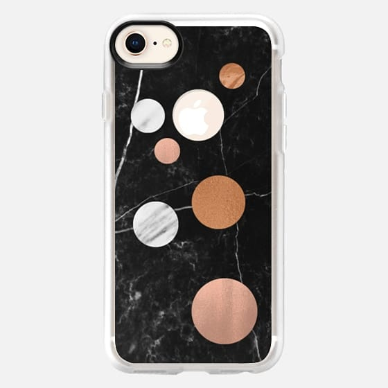 Black Marble Christmas Polka Dots - Snap Case