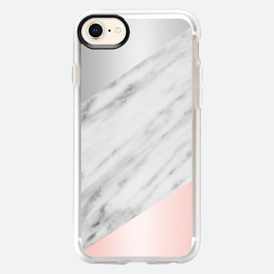 Pink Grey and Marble Collage - Snap Case