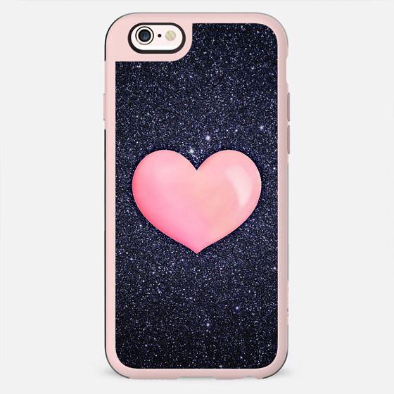 Pink Heart on shiny Black - New Standard Case