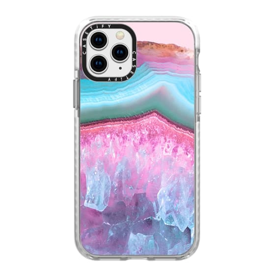 iPhone 11 Pro Cases - Pink and Light Blue Agate