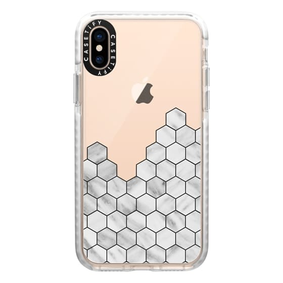 iPhone XS Cases - Marble Exagonal Collage