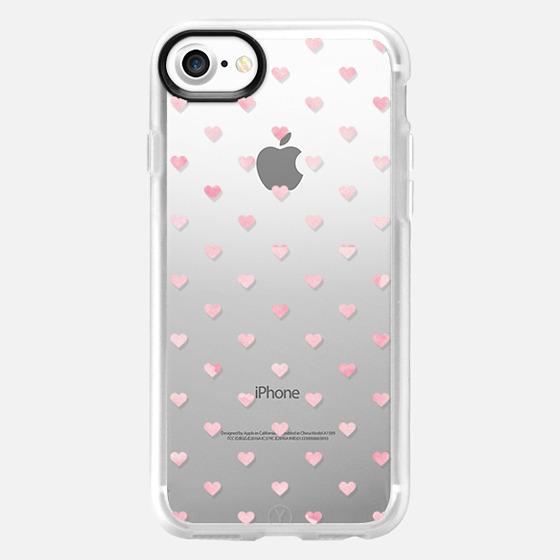 WATERCOLOR POLKA DOT (Transparent) (Pink) (Hearts) - Classic Grip Case