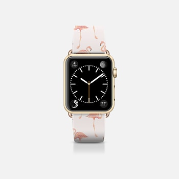 Apple Watch Band (38mm) Case FLAMINGO PATTERN -Pink Background- Apple Watch