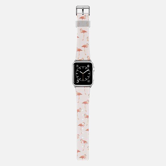 FLAMINGO PATTERN -Pink Background- Apple Watch - Saffiano Leather Watch Band