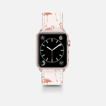 Leather Watch Band -  FLAMINGO PATTERN -Pink Background- Apple Watch