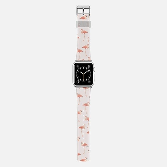 FLAMINGO PATTERN -Pink Background- Apple Watch - Saffiano Leather Watch Band