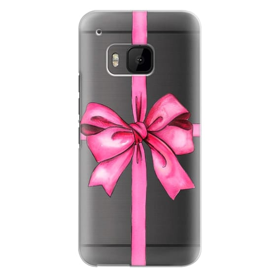 Htc One M9 Cases - SAY IT WITH A GIFT (Transparent background, Bow)