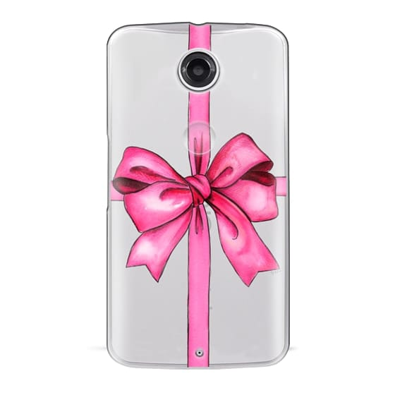 Nexus 6 Cases - SAY IT WITH A GIFT (Transparent background, Bow)