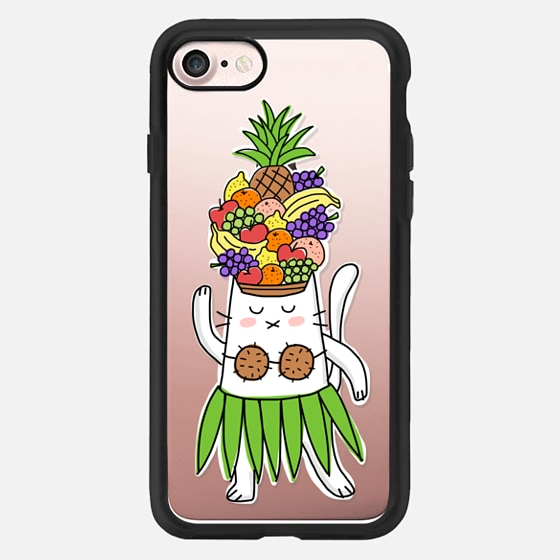 Tropical Festive Cat - With Fruit Hat - Fun Funny Colorful -