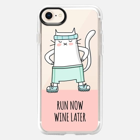 Cat - Run Now Wine Later - Sport Jogging - Coral Pink - Snap Case