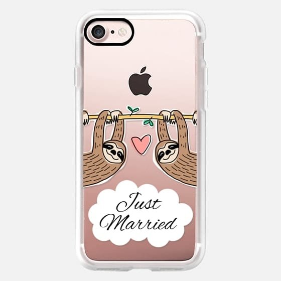 Just Married -  Sloth Couple - Wedding - Animal - Love - Pink Heart -
