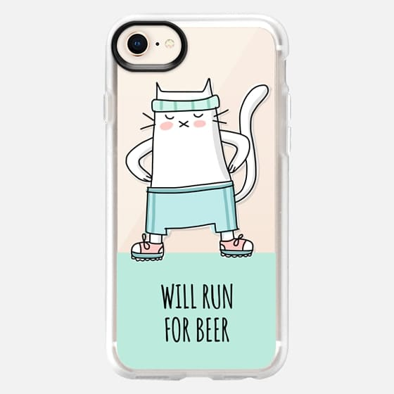 Cat - Will Run For Beer - Sport Jogging - Mint Green - Snap Case